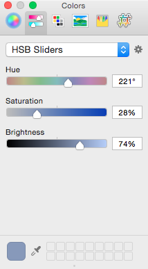 Low saturation, high brightness blue.